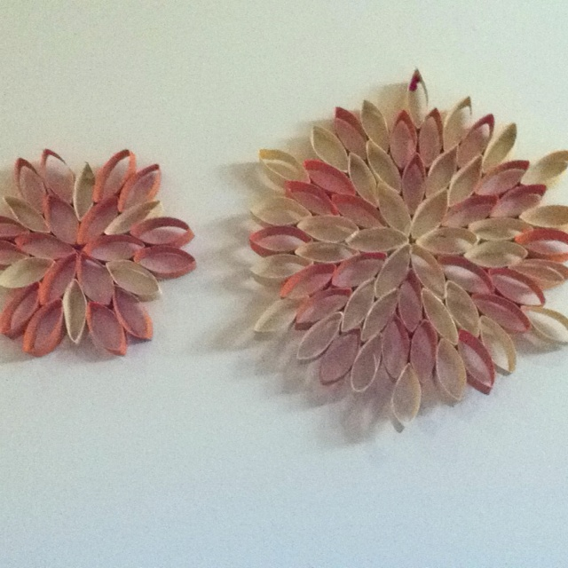 Wall decorations made out toilet paper rolls