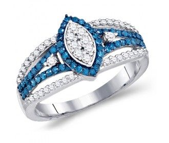 Blue & White Diamond Ring Marquise Design Band Hallow with Side Stones Fashion 10k White Gold (0.85 ct.tw) #Diamond #wedding #Engagement #Band #fashion #Jewelry jeweltie.com