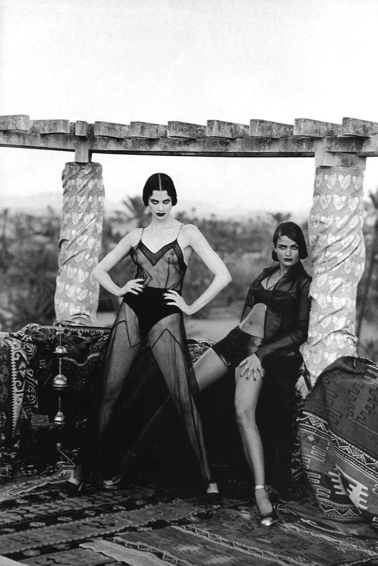 Kristen McMenamy & Helena Christensen   Photography by Peter Lindbergh   For Vogue Magazine France   April 1991