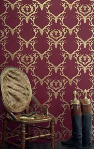 Deer Damask Wallpaper - Claret Gold