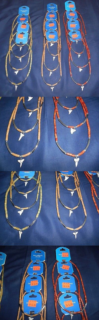 Other Wholesale Necklaces 56148: Wholesale Lot Of 12 *New* Assorted Genuine Shark Teeth Choker Necklaces BUY IT NOW ONLY: $35.0