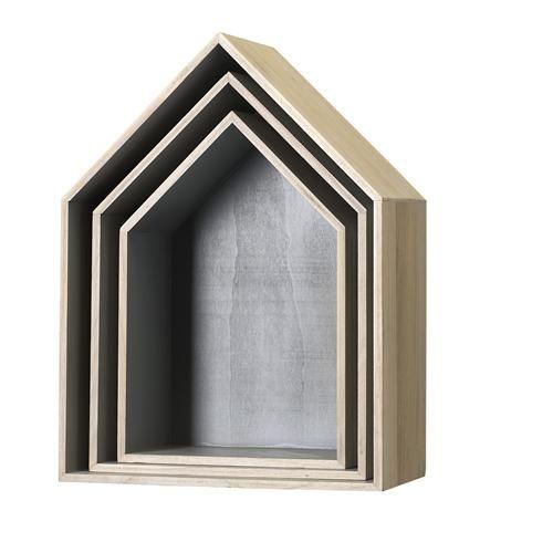 """""""         houten huisjes grijs"""