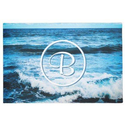 #Turquoise ocean photo custom monogram doormat - #doormats #home & #living