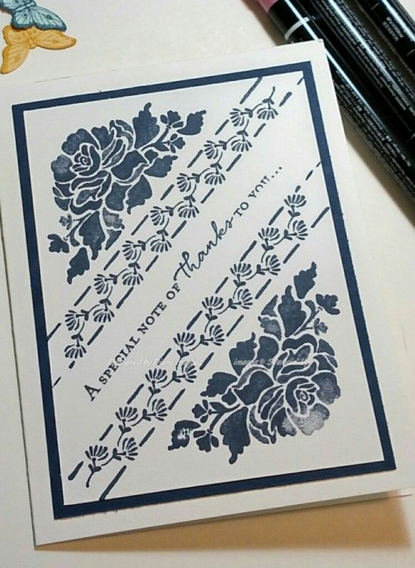 DH Navy floral monochromatic by diane617 - Cards and Paper Crafts at Splitcoaststampers