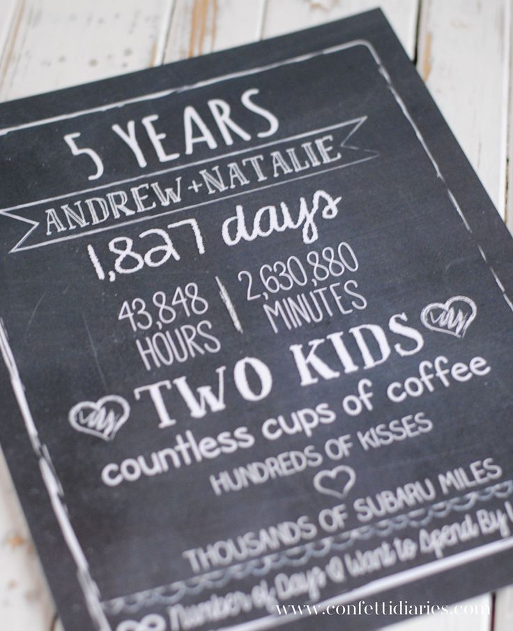 Chalkboard anniversary print commemorating our first five years of marriage.