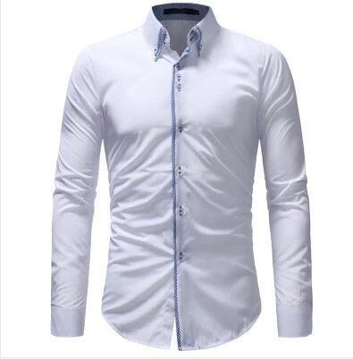 New 2018 Four Seasons Fashion Long Sleeve Men's Shirt Casual Double Co – d…