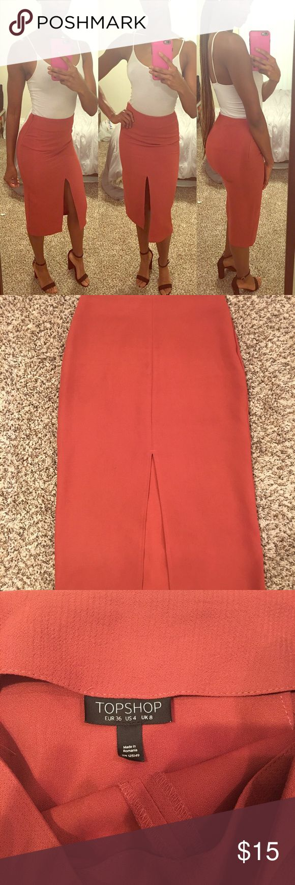 Burnt Orange Pencil Skirt Beautiful and elegant pencil skirt with front slit. This  piece is simple yet chic and can be worn for any occasion. Topshop Skirts Pencil