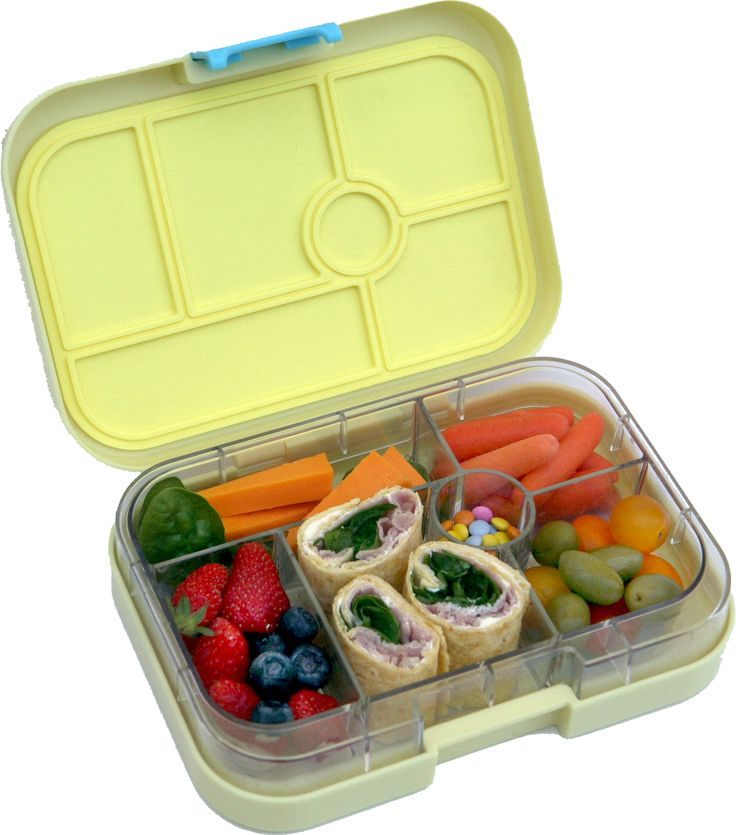 Keep lunches colorful for picky eaters and they will be more likely to eat wider variety. This Yumbox in Ananas Yellow contains ham and spinach wraps, cheese, carrots, fruit, tomatoes and olives. Few little chocolates for a treat.