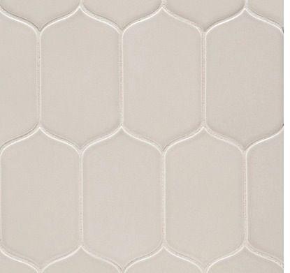 Walker Zanger - Cacoon Mosaic.  Color Fog Gloss.   - For the back splash. 4. 6th Avenue Cocoon Mosaic tile in Fog Glass ($18.75 per  square foot). Walker Zanger; 818/252-4000; walkerzanger.com 5