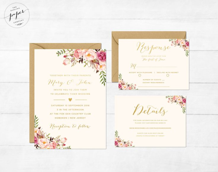 Invitation de mariage floral Boho imprimable mariage Invitation Suite mariage Bo…