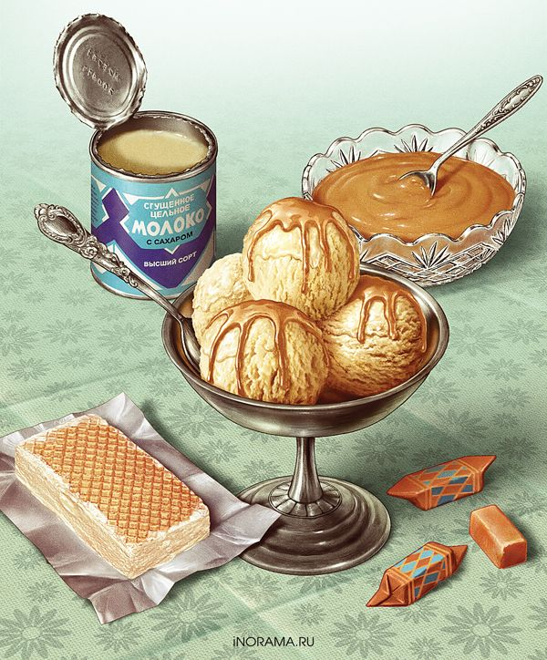 series of illustrations on the packaging of ice cream