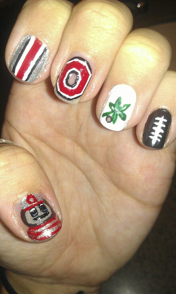 osu ohio state football buckeye nail art