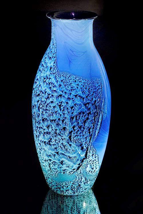 Vase - designed Josh Simpson - hand blown glass - blue glass - art
