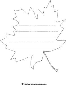 maple leaf outline shape with lines for writing
