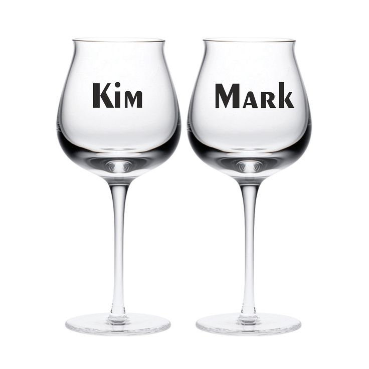 2x personalised names wine glass vinyl sticker