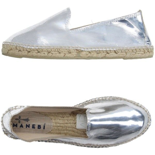 Manebí Espadrilles (£26) ❤ liked on Polyvore featuring shoes, sandals, silver, flat shoes, round cap, flat sandals, rubber sole shoes and espadrille sandals