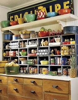 I love the drawers on the bottom! And the sign and bowls on top! : Cabinets, Idea, Open Shelves, Kitchens Colors, Organizations Pantries, Country Kitchens, Kitchens Storage, Vintage Decor, Pantries Storage