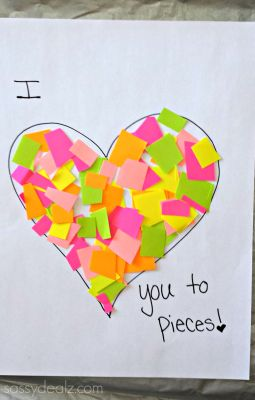 """I Love You to Pieces"" Heart Craft For Kids {Valentine Card Idea} - Sassy Dealz"
