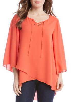 Karen Kane Women's Crossover Flare Sleeve Top - Orange - Xl