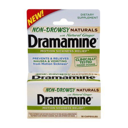 Dramamine Motion Sickness Relief Non-Drowsy Naturals With Natural Ginger Capsules - 18 CT