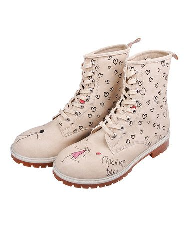 Take a look at this Dogo: Beige 'Catch Me Baby' Lace-Up Boots by Dogo on #zulily today!