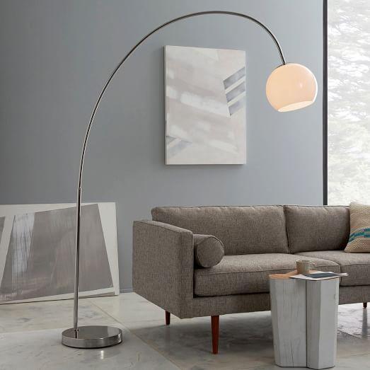 Overarching Acrylic Shade Floor Lamp - Polished Nickel/White | west elm