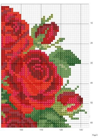 Sticken Kreuzstich - cross stitch ;O) Rose heart c.stitch-top right corner.#5 graph