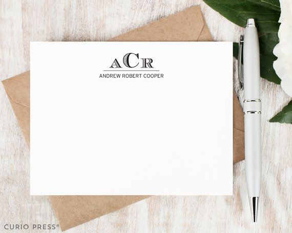 Personalized Stationery Set / Flat Personalized Stationary Note Cards / Professional Masculine Thank You // ENGRAVED 3 LETTER MONOGRAM