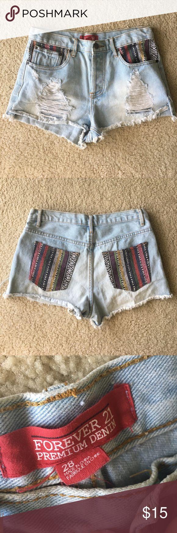 Forever 21 High Waisted Tribal Shorts Forever 21 High Waisted Tribal Shorts -- size 28! Worn only a few times Forever 21 Shorts Jean Shorts