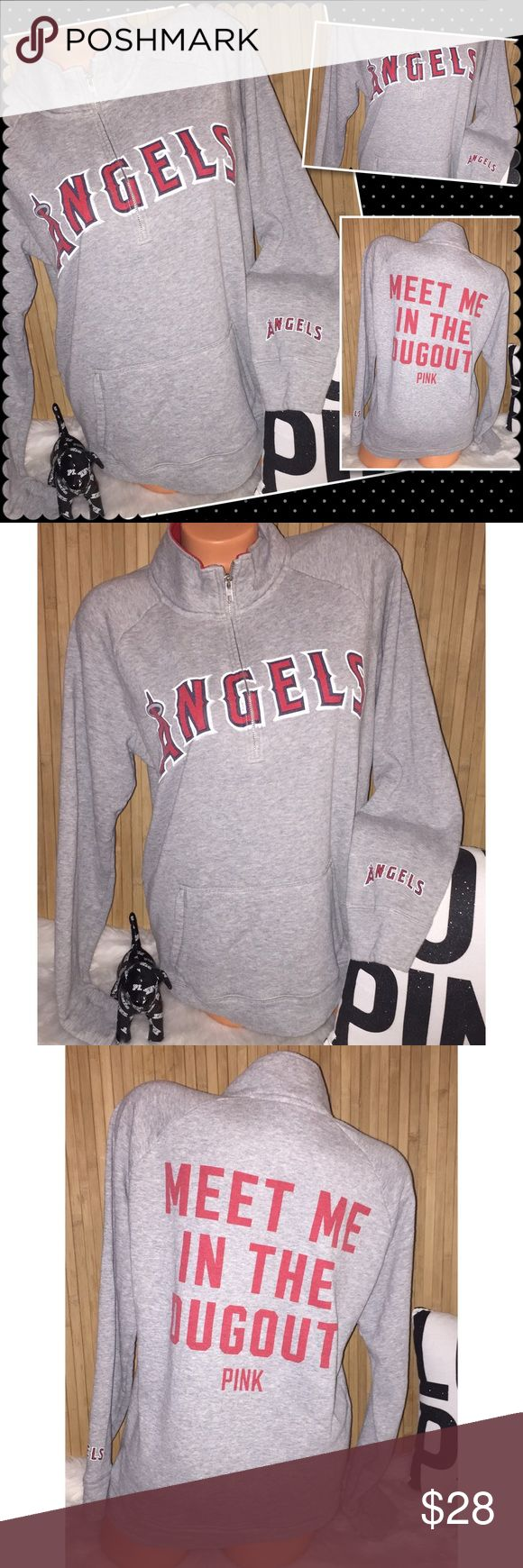 "VS PINK Angels baseball 1/4 zip crew LARGE VS Victoria's Secret PINK crew pullover 1/4 zip Anaheim Angels baseball ⚾️ team Color: gray with red-Black-White graphics, Gorgeous crew!! 22"" chest 28"" length. Sz LARGE loose fit  Pre owned in good condition no holes.  Fade/ piling from washing, Smoke/pet free. ❤️gladly Bundle. No trades. PINK Victoria's Secret Sweaters Crew & Scoop Necks"