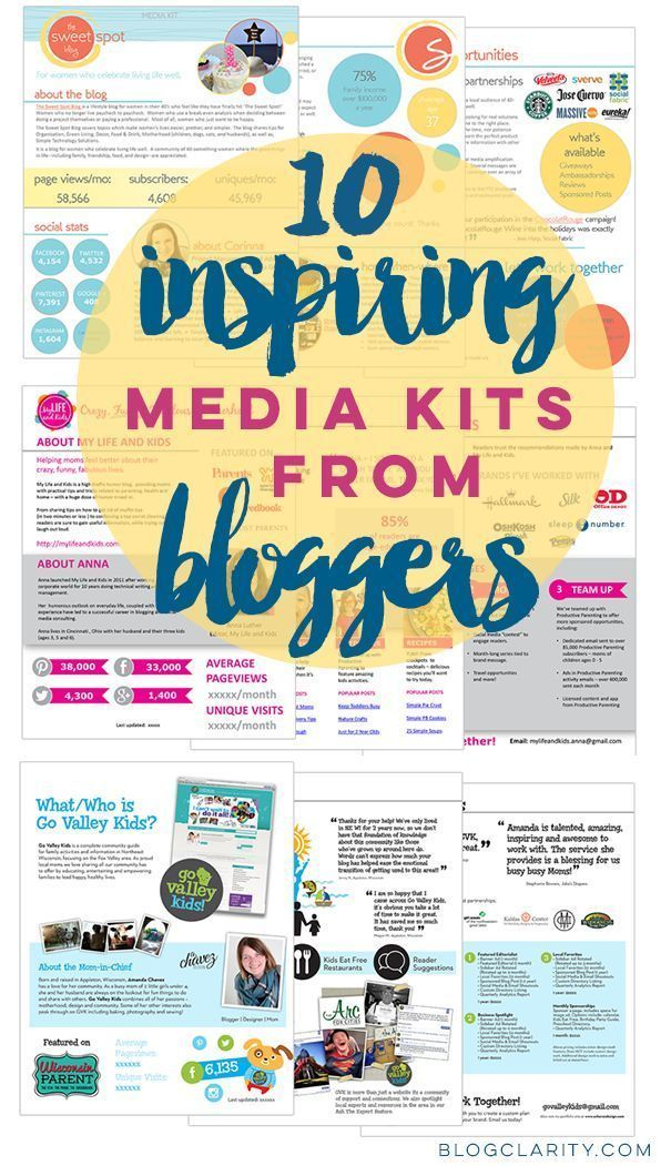 Media Kit examples from bloggers who used flexible, professional media kit templates. Get media kit ideas from 10 bloggers.