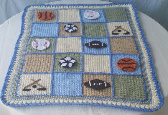 Sports Lapghan Crochet Baby Blanket Baseball Applique
