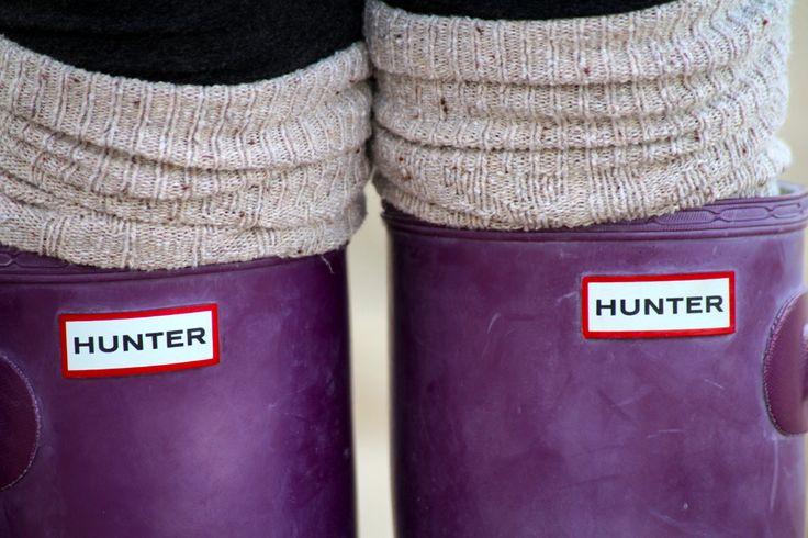 Rain boot stockings and-- ah!-- purple wellies  =]  What could make rain more fun?