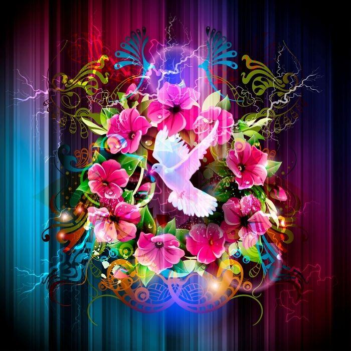 Baggrunde med blomster, en maske og en silhuet af pigen .. Diskussion om LiveInternet - Russisk service Online Diaries