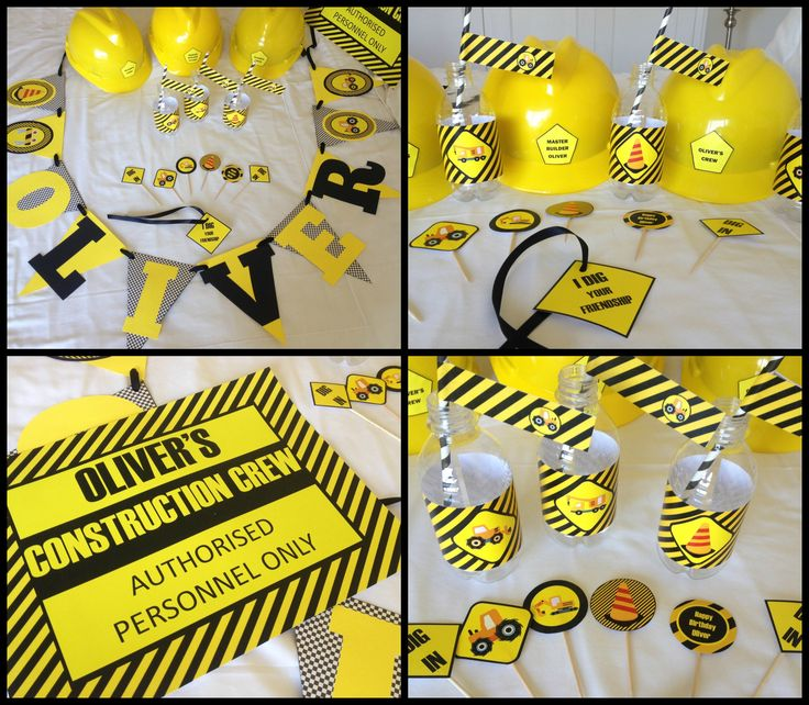 Construction Party Supplies - hard hats, buntings, cupcake toppers, water bottles, straws Made by Such Fun www.suchfun.co.za