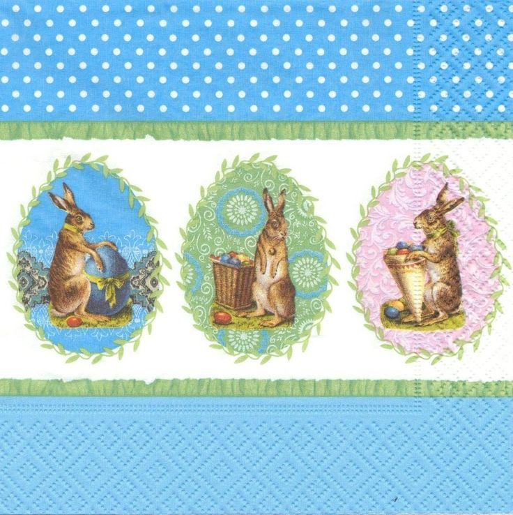 2 Serviettes en papier Pâques Oeuf Lapin - Paper Napkins Traditional Easter