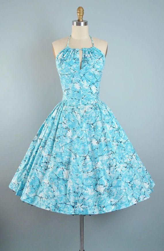 Vintage 50s Dress / 1950s Cotton Sundress Blue Black CRACKED