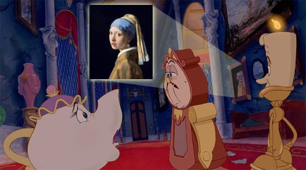 "The Beast had quite the art collection in his castle: That�s Vermeer�s Girl with a Pearl Earring behind Cogsworth! | 17 Little But Mind-Blowing Details You Missed In ""Beauty And The Beast"""
