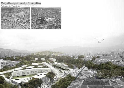 MegaColegio Jardín Educativo Ana Díaz, equipamiento educacional a escala urbana en Medellín,MegaColegio: vista general. Image Courtesy of Equipo desarrollador