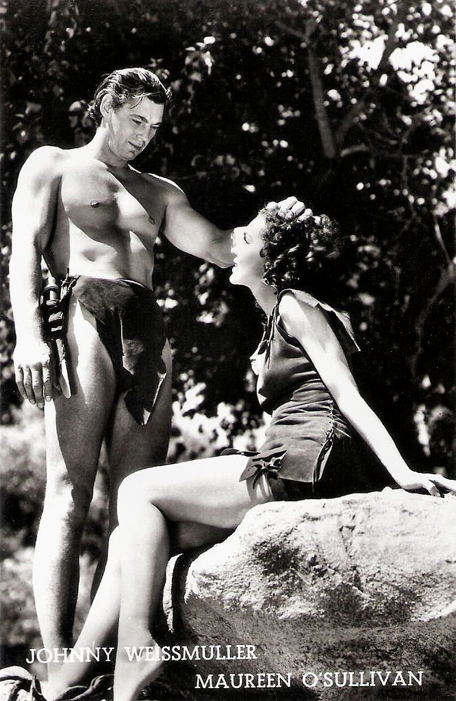 https://flic.kr/p/TbAmrs | Johnny Weismuller and Maureen O'Sullivan | Belgian postcard. Photo: M.G.M.   German-American competition swimmer and actor Johnny Weissmuller (1904-1984) is best known for playing Tarzan in films of the 1930s and 1940s and for having one of the best competitive swimming records of the 20th century. Weissmuller was one of the world's fastest swimmers in the 1920s, winning five Olympic gold medals for swimming and one bronze medal for water polo. He won fifty-two US…