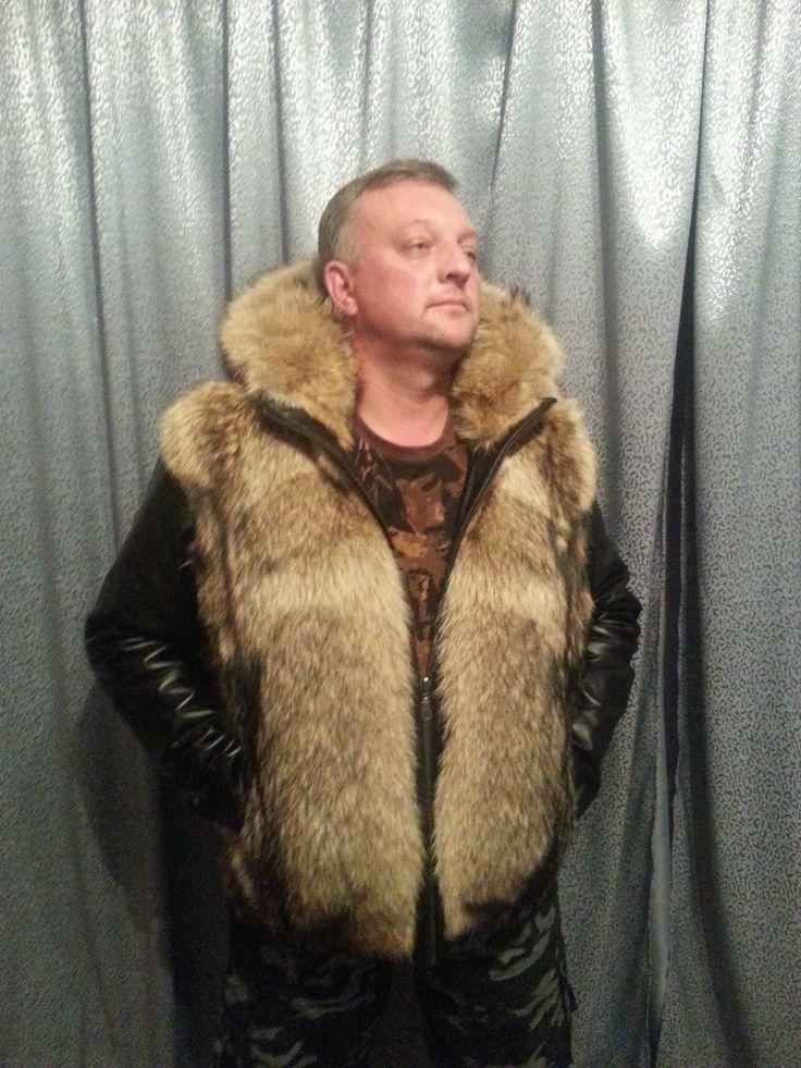 Details about Brown Hooded Men's Vest B3 Fur Shearling RAF