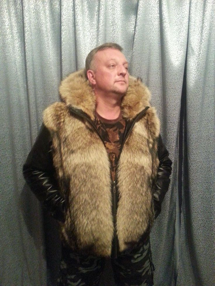 Men S Bomber Jacket Hooded Vest Genuine Wolf Fur Not