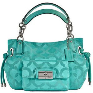 Coach satin turquoise bag, I believe one of two coach purses I have liked simply for color alone
