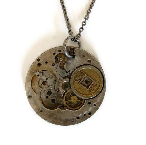 Steampunk Clock Pendant Necklace