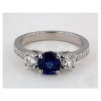 2 Cts 3 Piedras & Puesto Pavé Solitario Diamante Y Zafiro Anillo De Compromiso