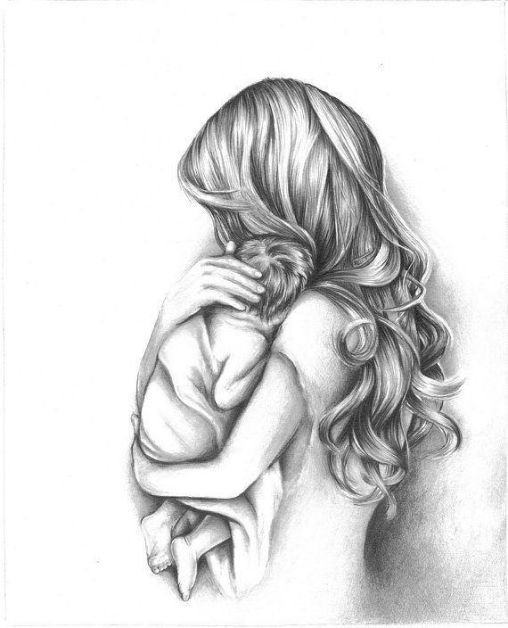 mother daughter drawings pencil | ... Moment Mother Holding Child Art Print from Original Pencil Drawing