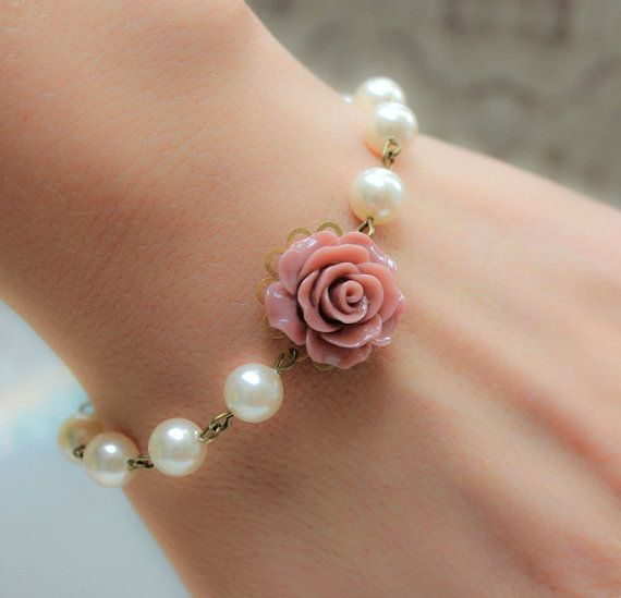 Rose Bracelet Dusty Pink Rose Pearl Bracelet by apocketofposies