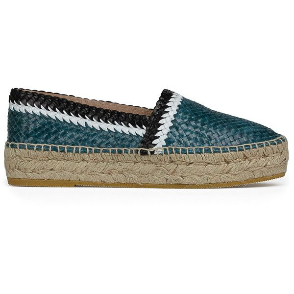 RIVIERA WOVEN ESPADRILLE ($260) ❤ liked on Polyvore featuring shoes, sandals, braided sandals, woven leather shoes, black and white platform sandals, woven shoes and black white sandals