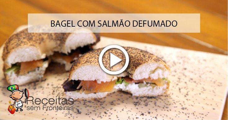 Bagel com salmão defumado e cream cheese: um sonho de sanduiche!