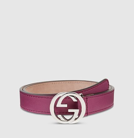 2253730d291 kid s leather belt with interlocking G buckle